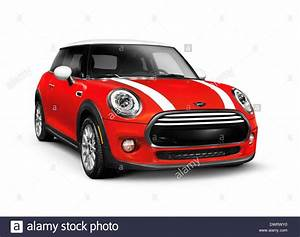 Red 2014 Mini Cooper Hardtop Compact City Car Isolated On