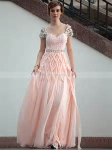 sleeve lace bridesmaid dresses rhinestone cap sleeved lace bodice prom dress features geometric tassel