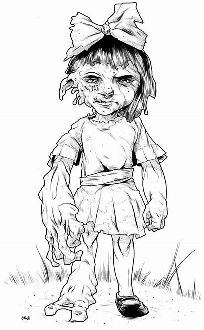 Coloring Zombie Pages Colouring Drawing Child Adult