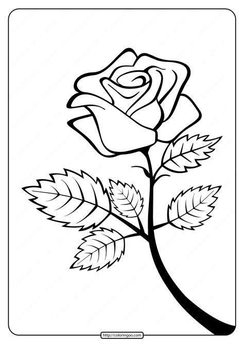 printable rose branch coloring page