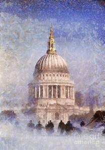 London St Pauls Fog 02 Painting by Pixel Chimp