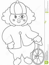 Unicycle Coloring Clown Illustration sketch template