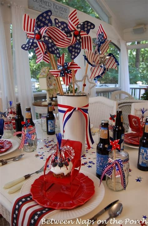 easy centerpiece  table decoration    july