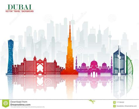 Dubai Landmark Global Travel And Journey Paper Background