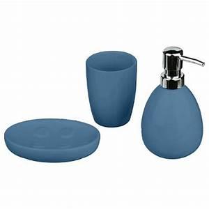 Set De Salle De Bain : set de 3 accessoires salle de bain sun bleu marine ~ Teatrodelosmanantiales.com Idées de Décoration