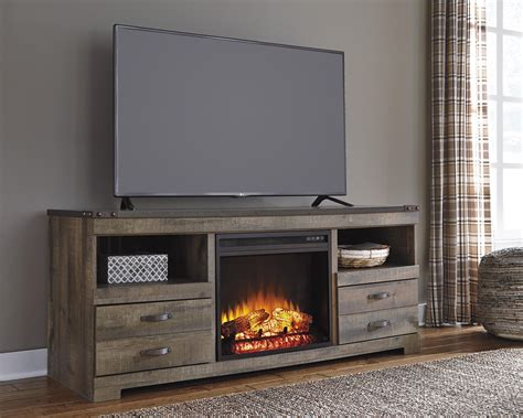 Rustic Large Tv Stand With Fireplace Insert By Signature