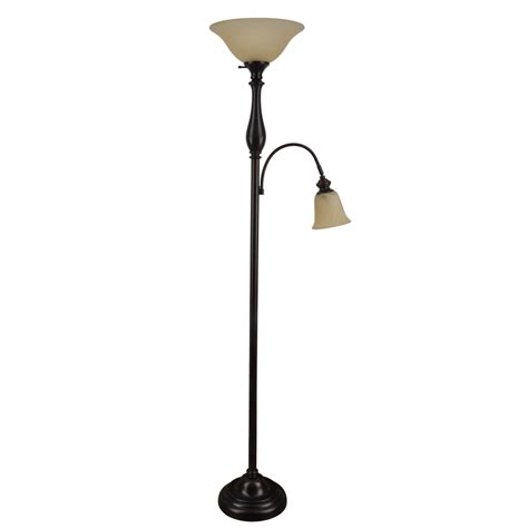 bronze torchiere floor l with reading light shop woodbine 72 in rubbed bronze torchiere with