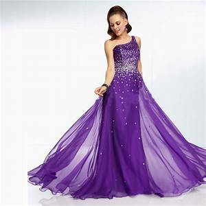 Elegant long purple bridesmaid dresses one shoulder for Purple long dress for wedding