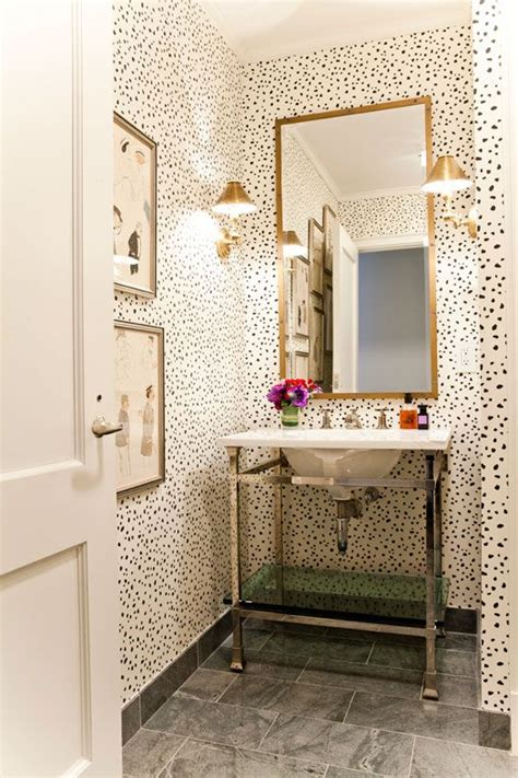 chic ways   wallpaper   guest bathroom