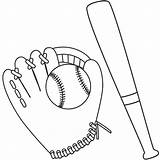 Baseball Bat Coloring Ball Glove Drawing Mitt Template Printable Sketch Colouring Getcolorings Getdrawings sketch template