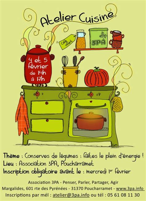 affiche atelier cuisine ateliers cuisine abracadacam com