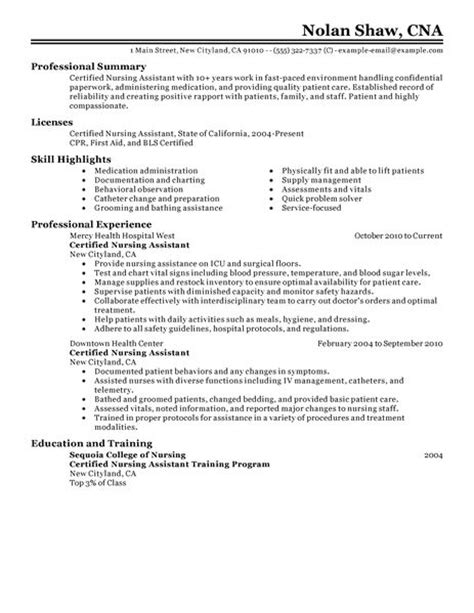 Nursing Attendant Resume Exle by Nursing Aide And Assistant Resume Exles Healthcare Resume Exles Livecareer