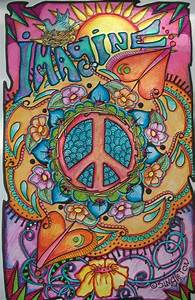 Imagine Peace and Love, Singleton Hippie Art Poster, Fully ...