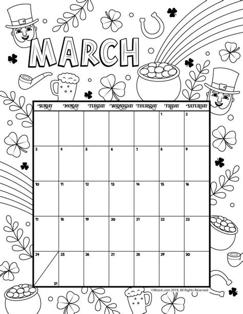 Printable Coloring Calendar for 2020 (and 2019 ) March