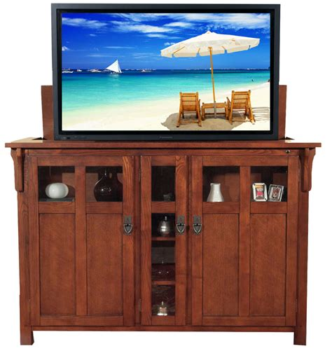 tv lifts cabinets bungalow mission oak tv lift cabinet for flat screen tvs