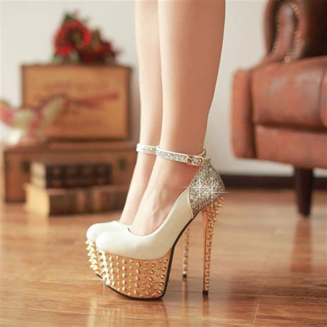 Fashion Round Closed Toe Platform Rivet Embellished Stiletto High Heels White PU Ankle Strap ...