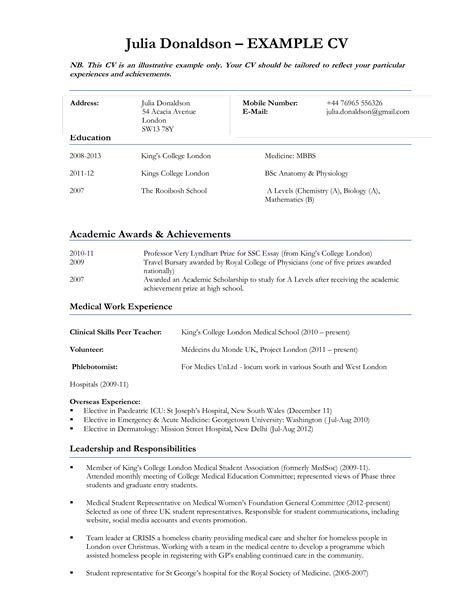 Curriculum Vitae Exles For Students by Curriculum Vitae Sle For Student Templates At