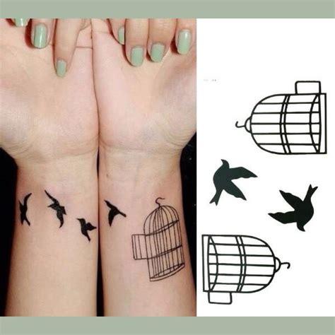 Tatouage Temporaire Oiseaux Et Cage Noir