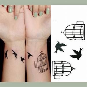 Tatouage Oiseau Homme : tatouage temporaire oiseaux et cage noir ~ Melissatoandfro.com Idées de Décoration