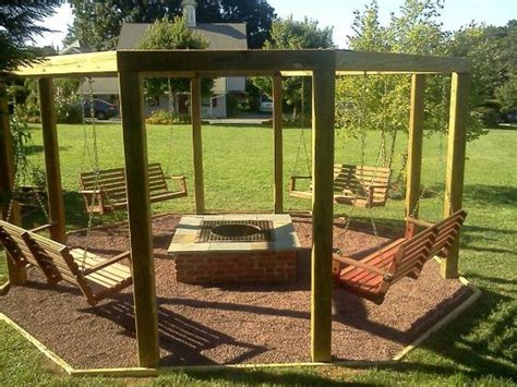Elegant Fire Pit Swing Set Plans Swing And Fire Pit Fire