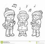 Choir Coloring Christmas Children Illustration Song Singing Dreamstime Clipart Illustrations Vectors sketch template