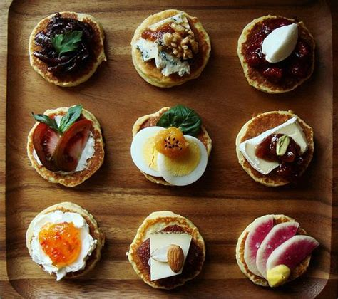 canape toppings try mini pancakes with all favorite flavors for