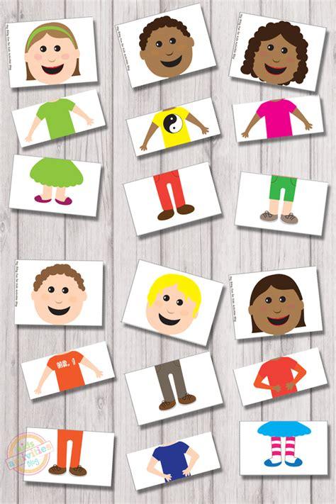 mix  match puzzles  kids printable