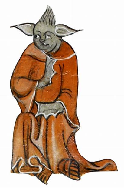 Yoda Medieval Medievale Monsters Disegno Manoscritto British
