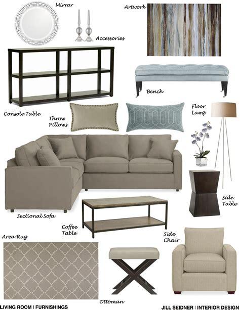 Living Room Furnishings by Pasadena Residence Living Room Furnishings Concept Board