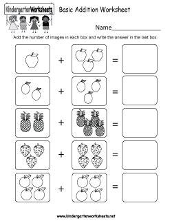 kindergarten addition worksheets learning  add