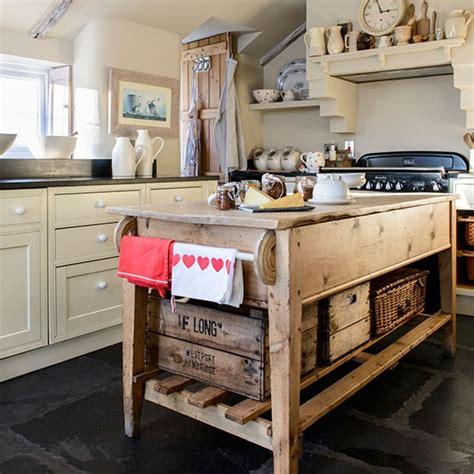 Rustic Kitchen Island Unit With Open Storage  Kitchen