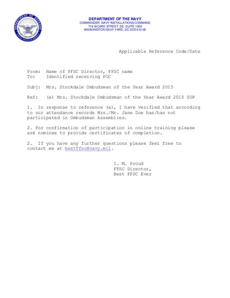 stockdale ombudsman   year award