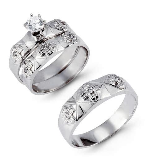 solid  white gold multi cross cz wedding ring trio