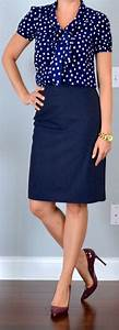 Outfit post polka-dot tie neck blouse navy pencil skirt burgundy heels