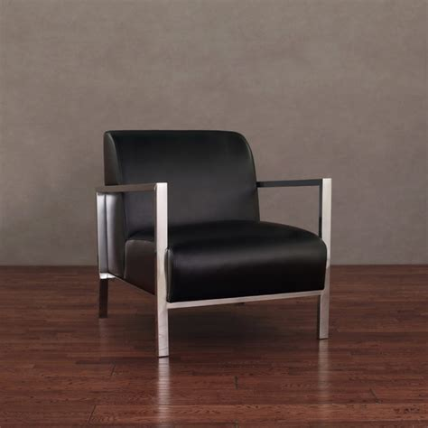 modena modern black leather accent chair contemporary