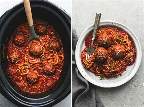 cooker spaghetti slow cooker spaghetti and meatballs creme de la crumb