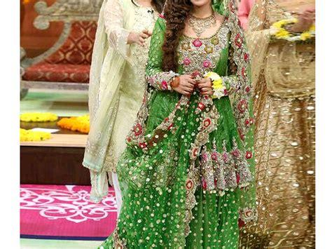 embroidered green net bridal lehenga dress price