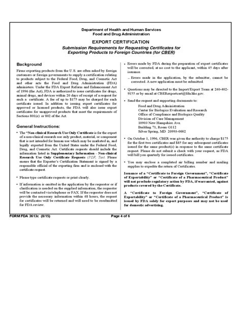 form fda 3613c supplementary information non clinical