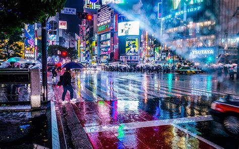 herunterladen hintergrundbild tokio nacht stadt regen