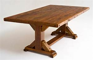Reclaimed Wood Trestle Dining Table - Rustic - Dining