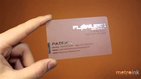 Visa, mastercard, american express and discover debit/credit cards accepted (no. Metroink Transparent Plastic Business Card With Foil Stamp Flawless Auto Leasing - YouTube