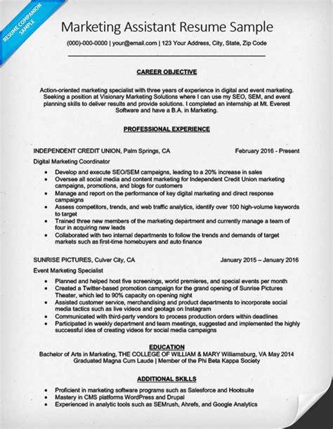 Marketing Resume Tips by Marketing Assistant Resume Sle Tips Resumecompanion