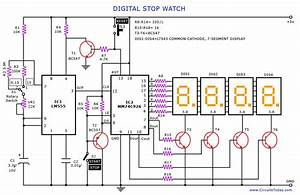 A Digital Stop Watch Or Digital Timer Circuit Schematic Built Around Timer Ic Lm555 And 4