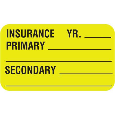 """If medicare is secondary, box 29 will show 0.00 as the paid amount. Primary Secondary Insurance Label 1 1/2"""" x 7/8"""" Fl Chartreuse MAP2850"""