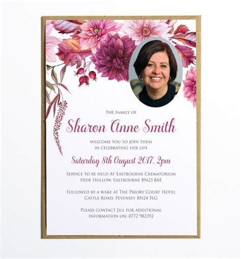 template card for funeral flowers funeral memorial announcement or invitation dahlias