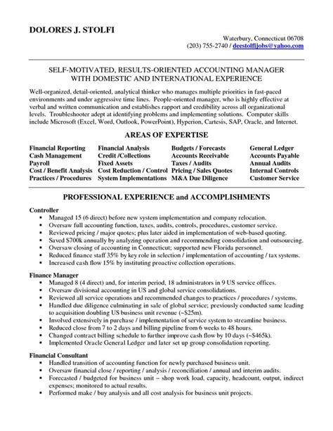 Resume For Management Accountant by Accounting Manager Resume Accounting Manager In Nyc Resume Delores Stolfi To Do Must Do