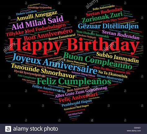 happy birthday   languages stock photo