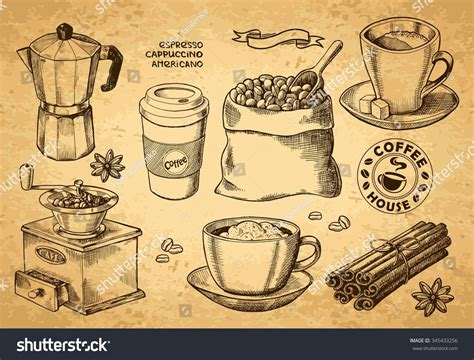 Hand Drawn Sketch Vintage Coffee Set. Vector Illustration Starbucks Coffee Menu Melbourne What Does Gloria Jeans Use Lahore Jobs Popular Drink Flavors Grinder Perth Malaysia Brewed Secret