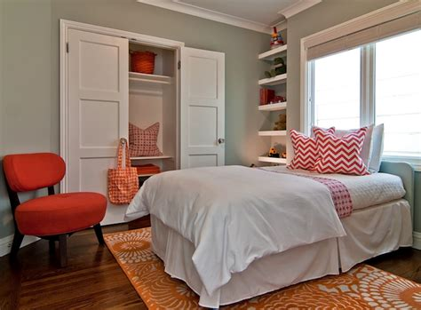 Red And Orange Girl's Bedroom-contemporary-girl's Room