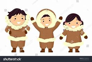 Illustration Stickman Kids Eskimo Wearing Brown Stock ...